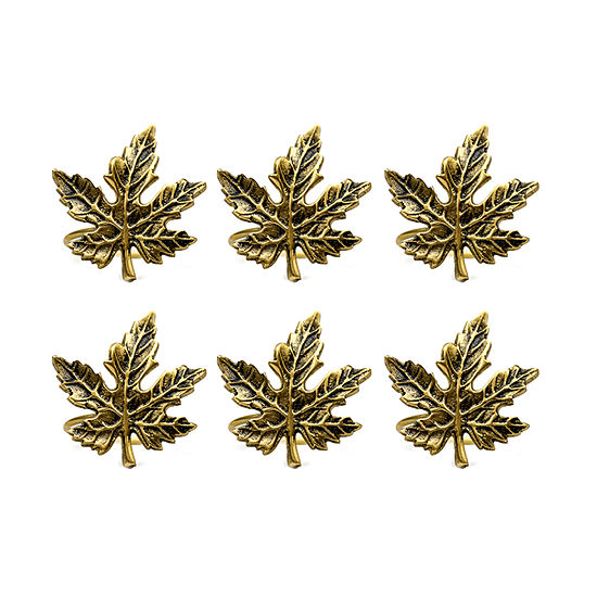 Design Imports Gold Maple Leaf 6-pc. Napkin Ring