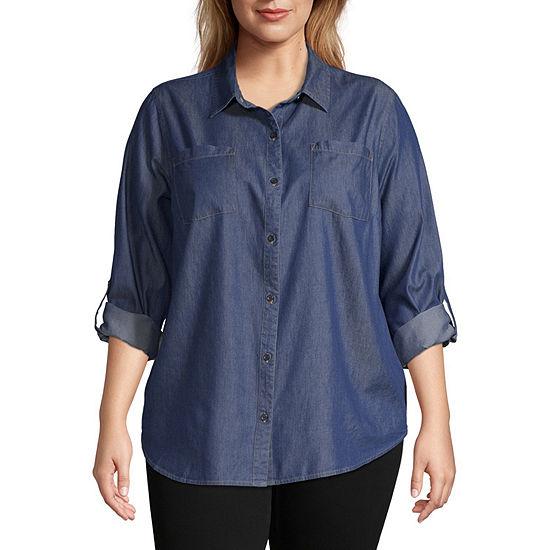 a.n.a Womens Long Sleeve Button-Front Shirt-Plus