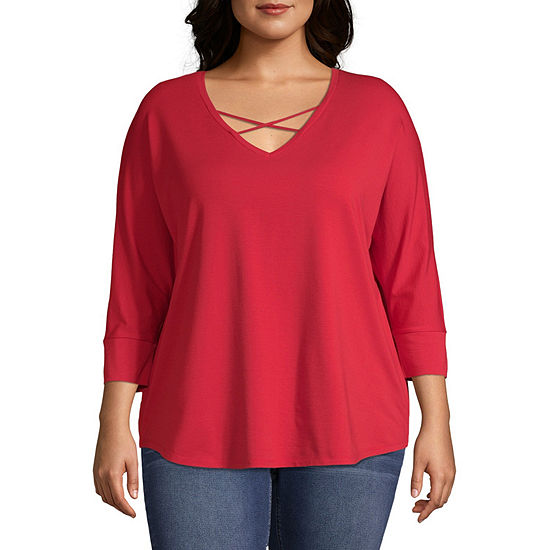 a.n.a Plus-Womens V Neck 3/4 Sleeve T-Shirt