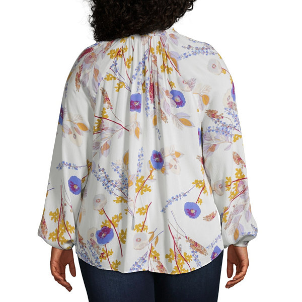 a.n.a Womens Keyhole Neck Long Sleeve Blouse-Plus