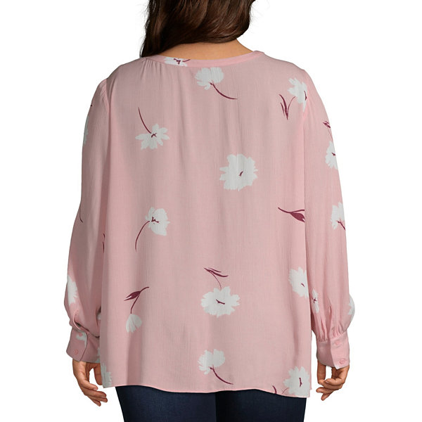 a.n.a Womens Round Neck Long Sleeve Floral Blouse-Plus