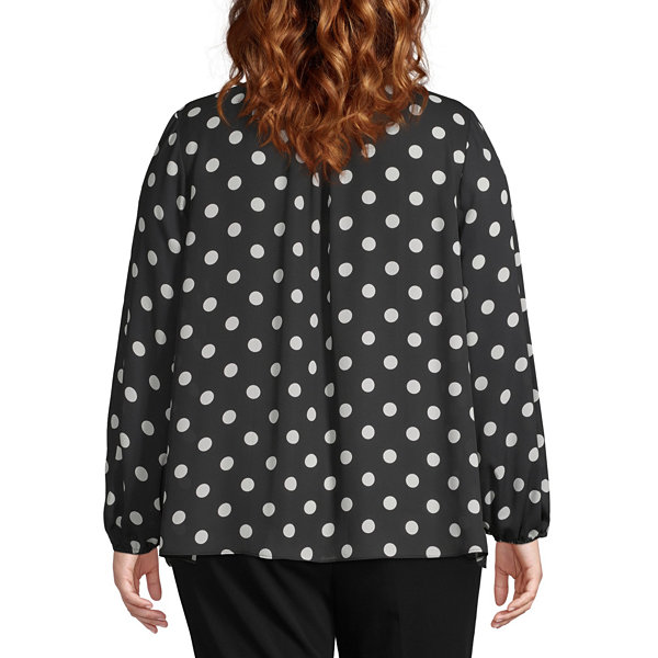 Worthington Womens Long Sleeve Bow Blouse - Plus