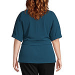 Worthington Womens 3/4 Sleeve Belted Knit Top - Plus