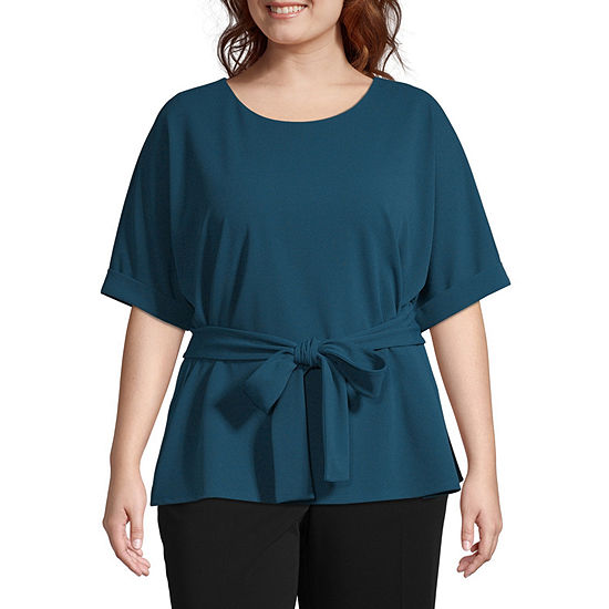 Worthington Womens 3/4 SLV Belted Knit Top - Plus