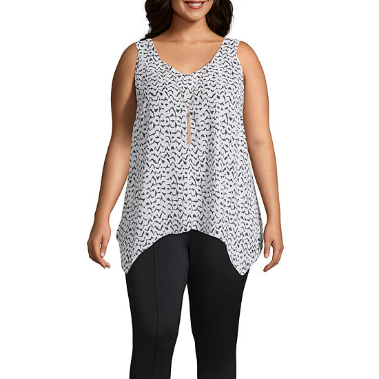 Bold Elements Womens Sleeveless Chain Woven Top - Plus