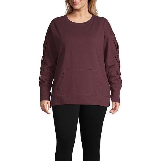 Xersion Womens Crew Neck Long Sleeve Sweatshirt Plus
