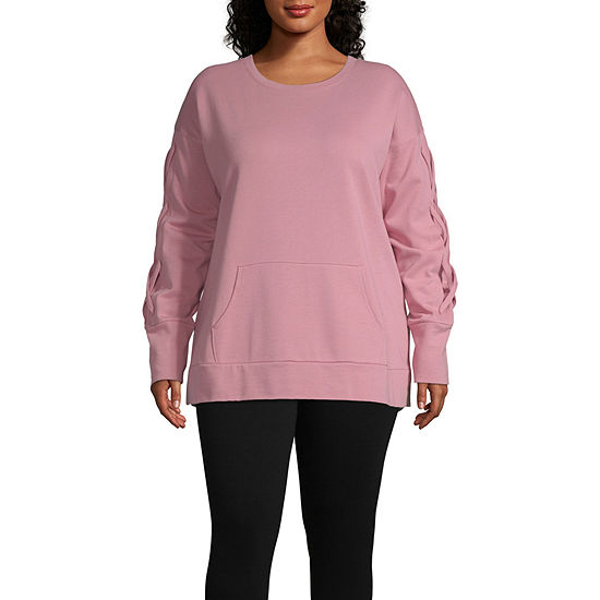 Xersion Plus Womens Crew Neck Long Sleeve Sweatshirt