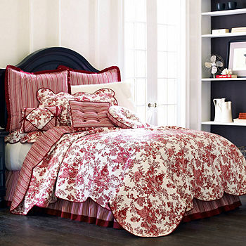 Toile Garden Bedskirt Jcpenney, Red Toile Queen Bedding