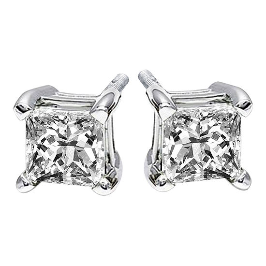 1 CT. T.W. Princess-Cut Genuine Diamond Stud Earrings