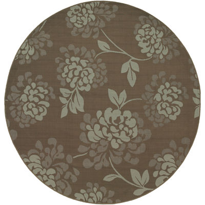 Covington Home Shadow Floral Indoor/Outdoor RoundRug