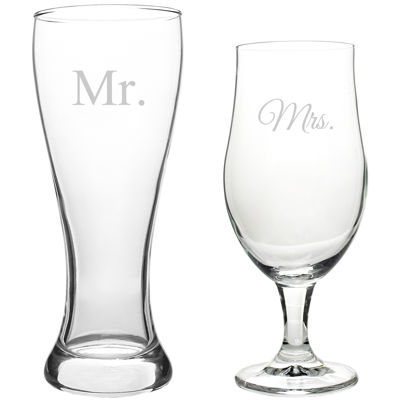 Cathy's Concepts Mr. & Mrs. Set of 2 Pilsner Glasses