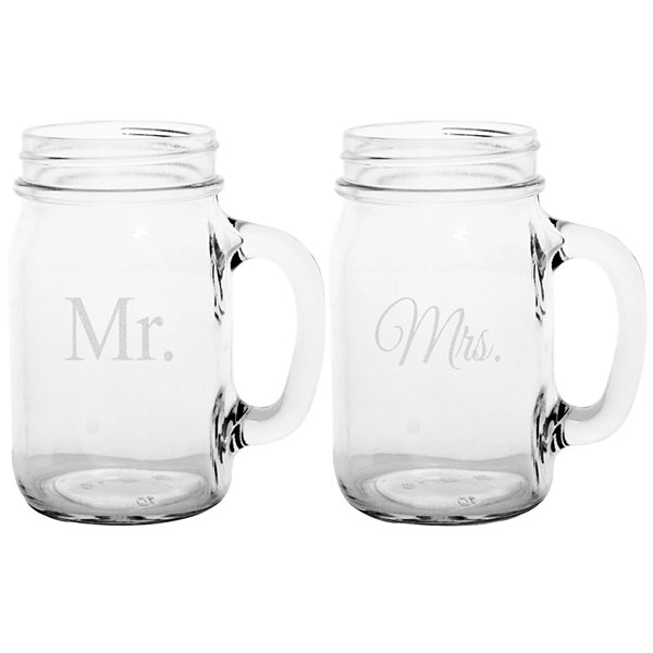 Cathy's Concepts Mr. & Mrs. Set of 2 Old Fashioned Drinking Jars