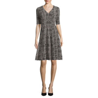Danny & Nicole® Elbow-Sleeve Tweedy Zip-Pocket Fit-and-Flare Dress