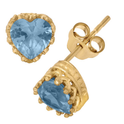 Lab-Created Aquamarine 14K Gold Over Silver Earrings