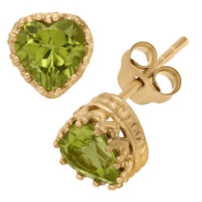 14K Gold Over Sterling Silver Genuine Green Peridot Crown Earrings