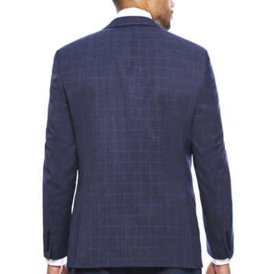 Collection by Michael Strahan Blue Windowpane Suit- Classic