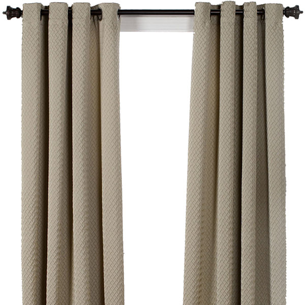 Boiler Plate Textured Grommet-Top Curtain Panel