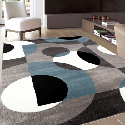 World Rug Gallery Modern Circles Rectangular, Round & Runner Rugs