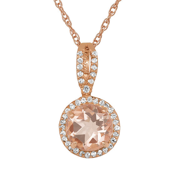 Womens Simulated Pink Morganite 14K Gold Over Silver Pendant Necklace