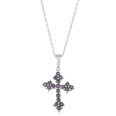 Womens Genuine Mystic Fire Topaz Sterling Silver Cross Pendant Necklace
