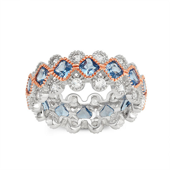 Lab Created Blue Aquamarine Sterling Silver Band