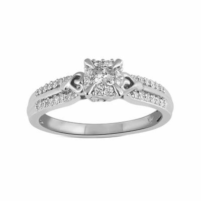 Hallmark Bridal Womens 1/3 CT. T.W. Genuine Princess White Diamond 10K Gold Engagement Ring