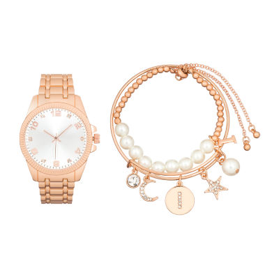 Alexis Bendel I Initial Womens Rose Goldtone 3-pc. Watch Boxed Set-7587r-42-B29