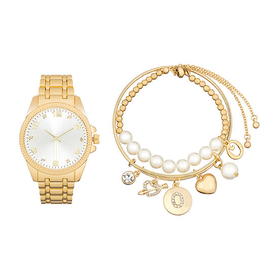 Alexis Bendel O Initial Womens Gold Tone 3-pc. Watch Boxed Set-7588g-42-B27