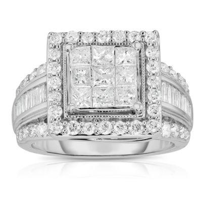 Womens 2 CT. T.W. Genuine Diamond 10K White Gold Engagement Ring