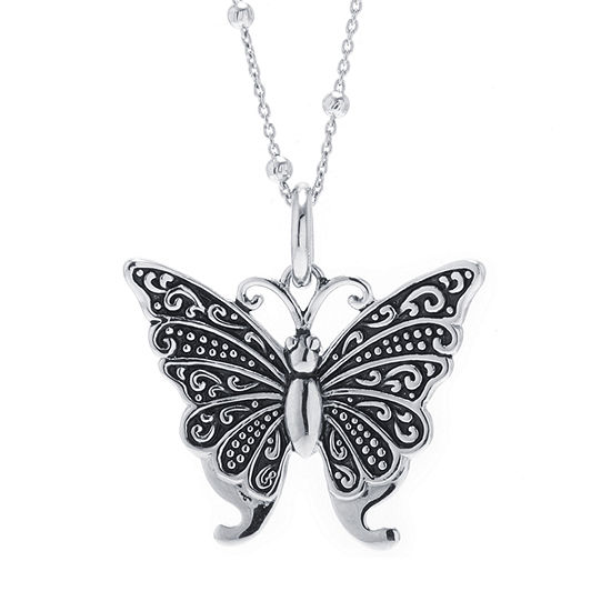 Womens Sterling Silver Butterfly Pendant