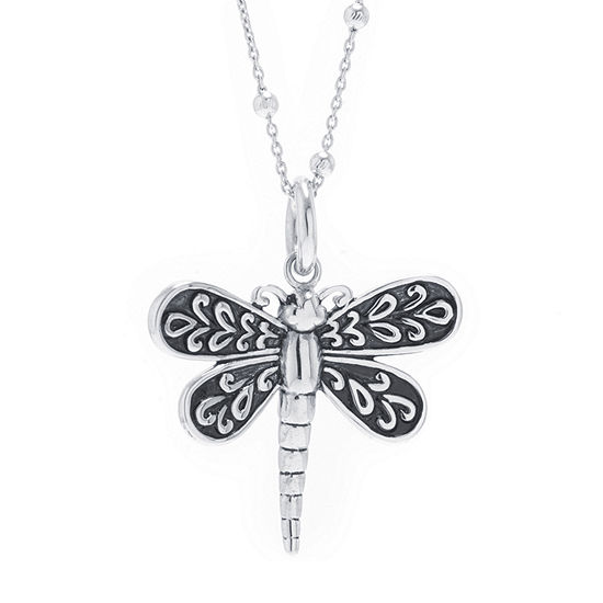 Dragonfly Womens Sterling Silver Pendant