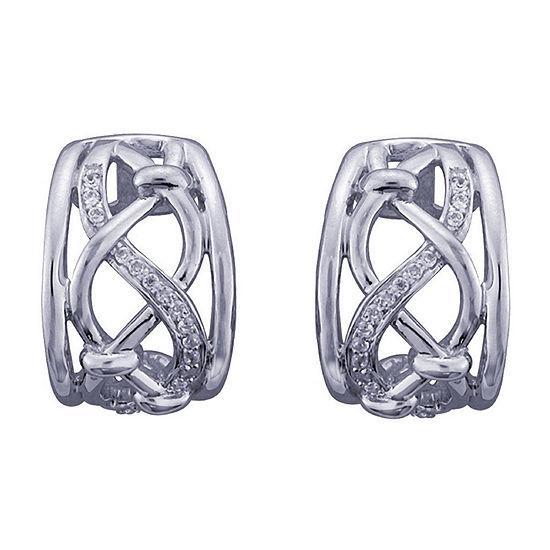 1/5 CT. T.W. Genuine White Diamond Sterling Silver 15mm Hoop Earrings