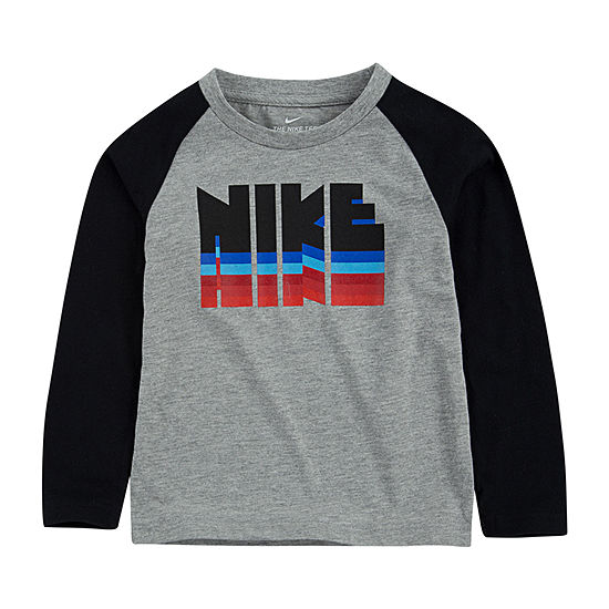 Nike Boys Round Neck Long Sleeve Graphic T-Shirt-Toddler