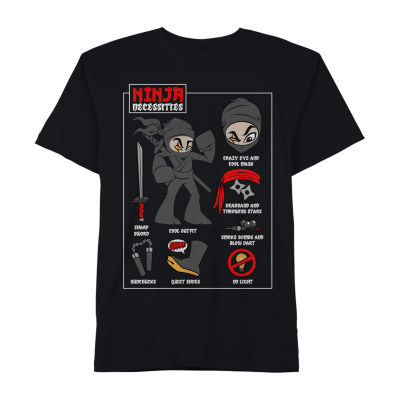 """Ninja Necessities"" Little & Big Boys Crew Neck Short Sleeve Graphic T-Shirt"