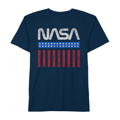 Nasa Stars And Stripes Little & Big Boys Crew Neck Short Sleeve Graphic T-Shirt