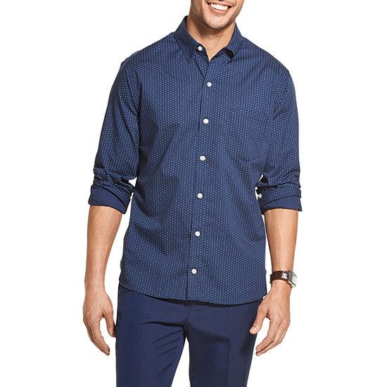 Van Heusen Slim Never Tuck Mens Long Sleeve Plaid Button-Front Shirt