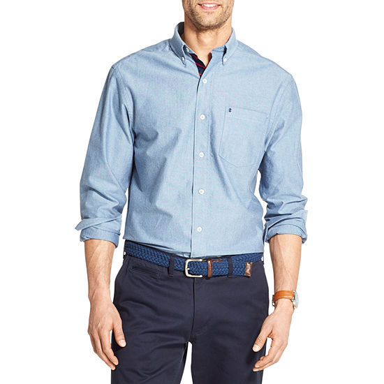 IZOD Oxford Mens Long Sleeve Button-Front Shirt