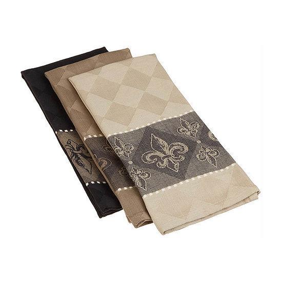 Design Imports Assorted Fleur De Lis Jacquard 3-pc. Kitchen Towel