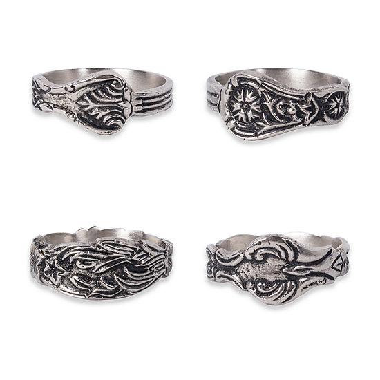 Design Imports Assorted Silver Spoon 4-pc. Napkin Ring