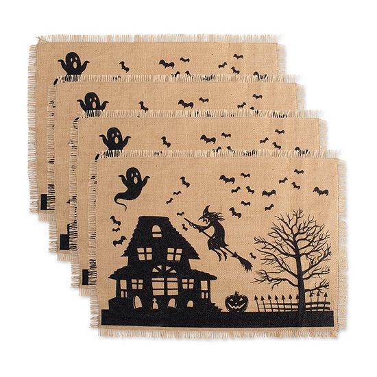 Design Imports Haunted House Print Burlap 4-pc. Placemat
