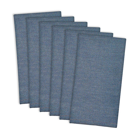 Design Imports Denim Embroidered Jeans 6 Pc Napkins