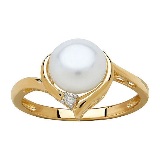 Certified Sofia™ Cultured Freshwater Pearl & Diamond Accent 10K Gold Ring