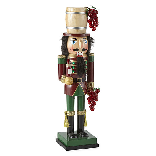 """North Pole Trading Co. 14"""" Wine Hand Painted Nutcracker"""