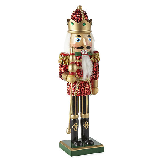"""North Pole Trading Co. 14.25"""" Sequin Hand Painted Nutcracker"""