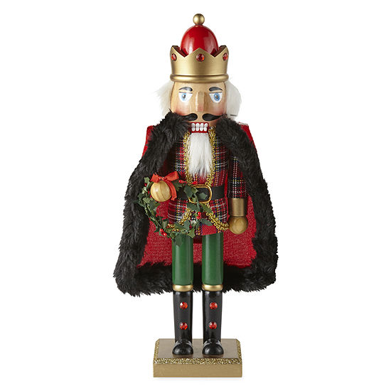 "North Pole Trading Co. 14"" Tartan Plaid Hand Painted Nutcracker"