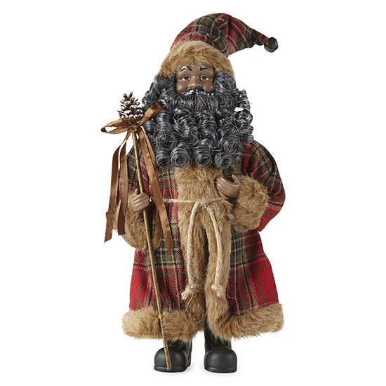 "North Pole Trading Co. 12"" Plaid Handmade Santa Figurine"