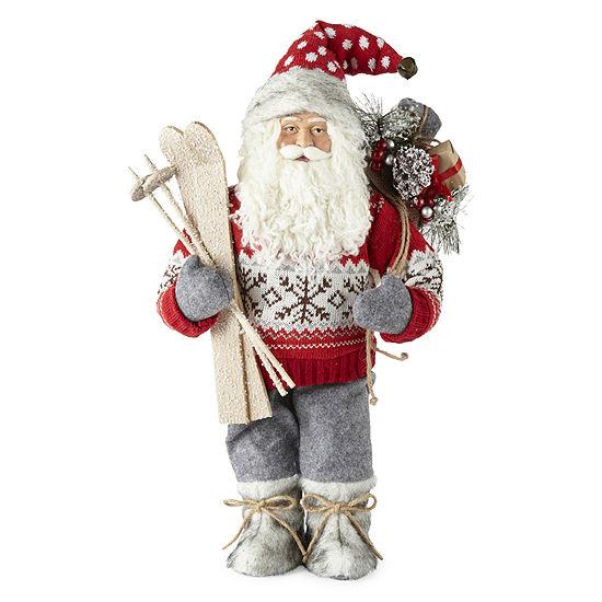 """North Pole Trading Co. 18"""" Ski Handmade Santa Figurine"""
