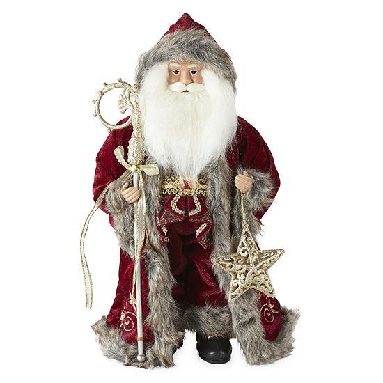 "North Pole Trading Co. 18"" Fur Hooded Handmade Santa Figurine"