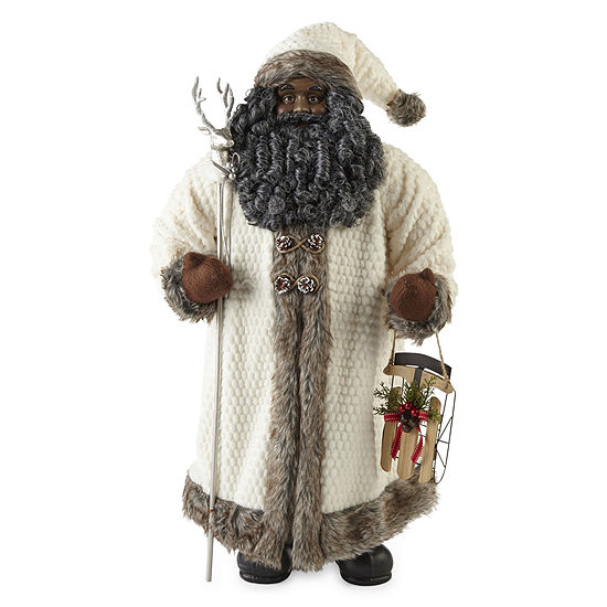 "North Pole Trading Co. 36"" White Fur & Sled Handmade Santa Figurine"
