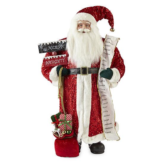 "North Pole Trading Co. 36"" List Handmade Santa Figurine"